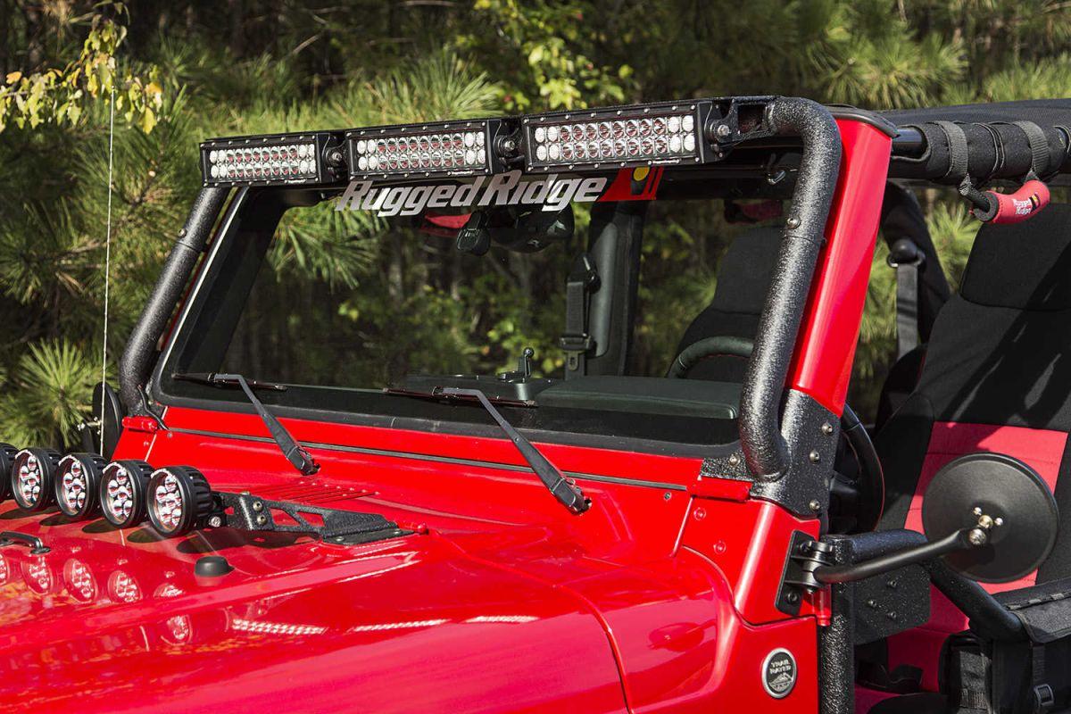 Lampenbügel Scheibenrahmen LED Jeep Wrangler TJ 97-06 Rugged Ridge ...